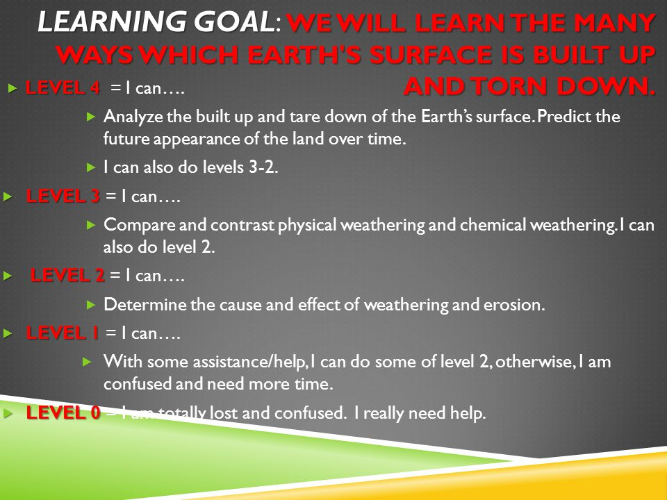 LEARNING GOAL WE WILL LEARN THE MANY WAYS WHICH EARTH S SURFACE IS BUILT UP AND TORN DOWN.