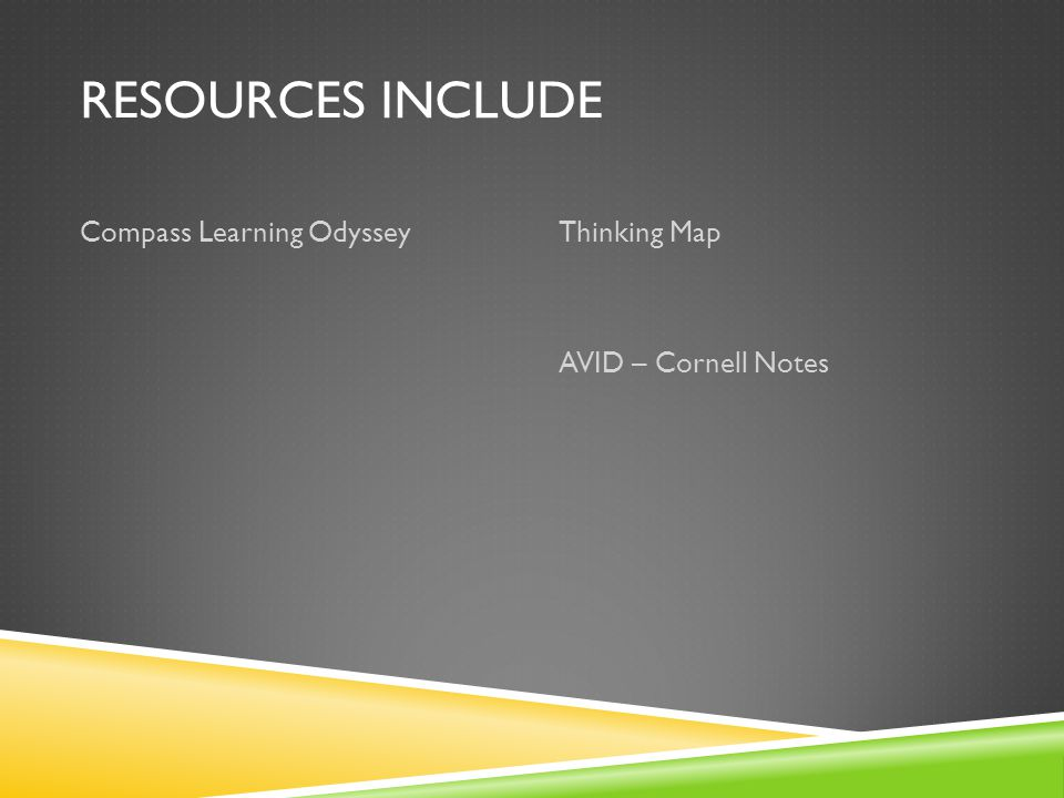 RESOURCES INCLUDE Compass Learning OdysseyThinking Map AVID – Cornell Notes