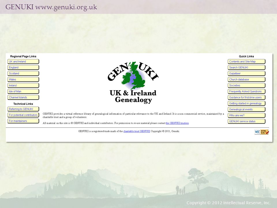 GENUKI www.genuki.org.uk Copyright © 2012 Intellectual Reserve, Inc.