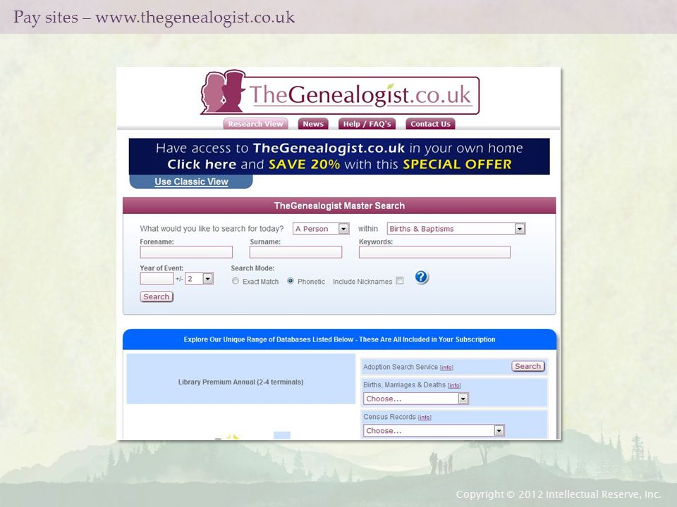 Pay sites – www.thegenealogist.co.uk Copyright © 2012 Intellectual Reserve, Inc.
