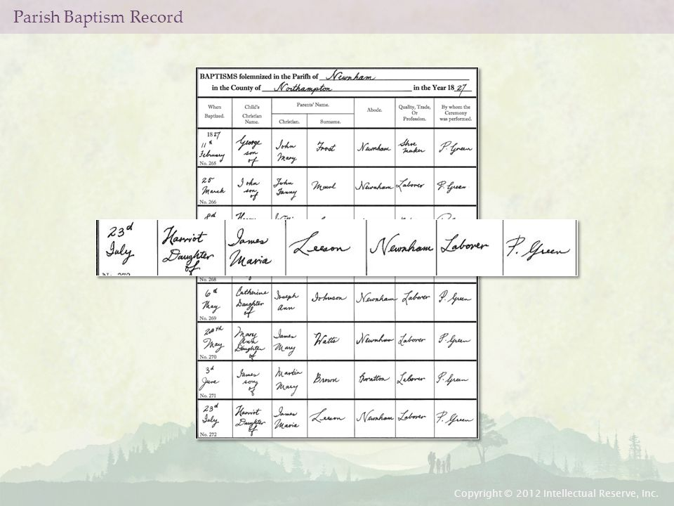 Parish Baptism Record Copyright © 2012 Intellectual Reserve, Inc.