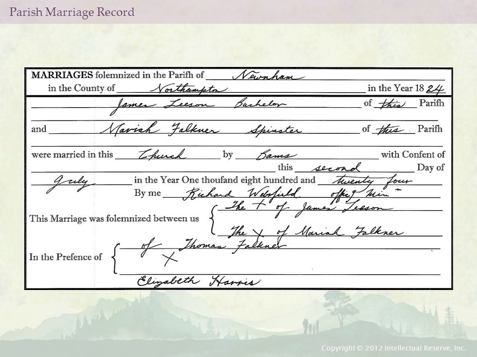 Parish Marriage Record Copyright © 2012 Intellectual Reserve, Inc.
