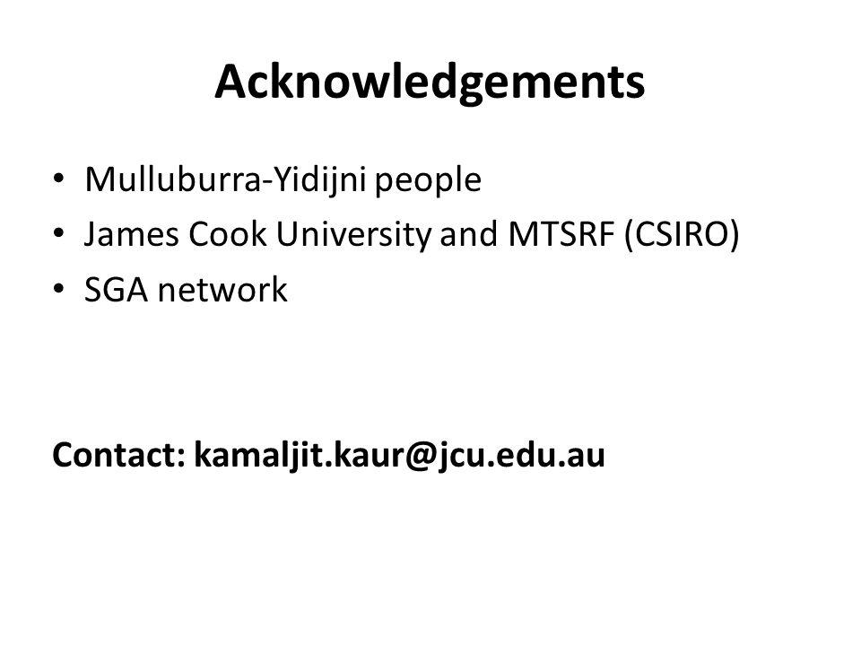 Acknowledgements Mulluburra-Yidijni people James Cook University and MTSRF (CSIRO) SGA network Contact: kamaljit.kaur@jcu.edu.au