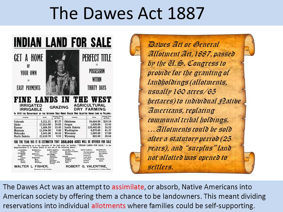 The Dawes Act 1887 Dawes Act or General Allotment Act,1887, passed by the U.S. Congress to provide for the granting of landholdings (allotments, usual
