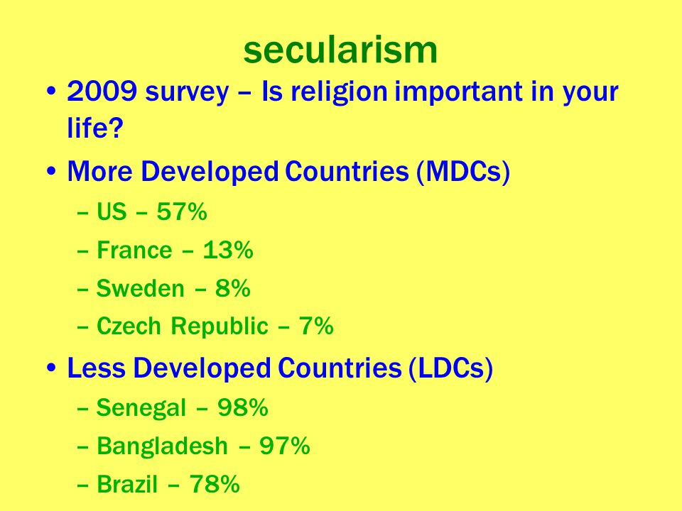secularism 2009 survey – Is religion important in your life? More Developed Countries (MDCs) –US – 57% –France – 13% –Sweden – 8% –Czech Republic – 7%