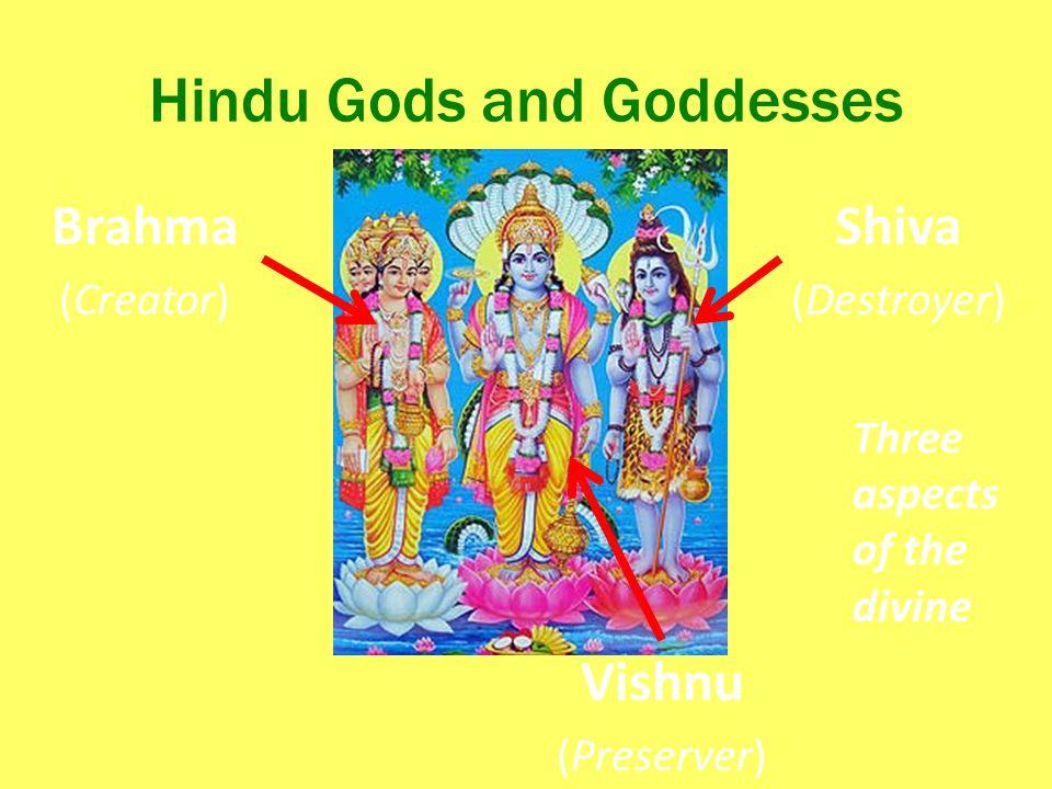 Hindu Gods and Goddesses Brahma (Creator) Vishnu (Preserver) Shiva (Destroyer) Three aspects of the divine