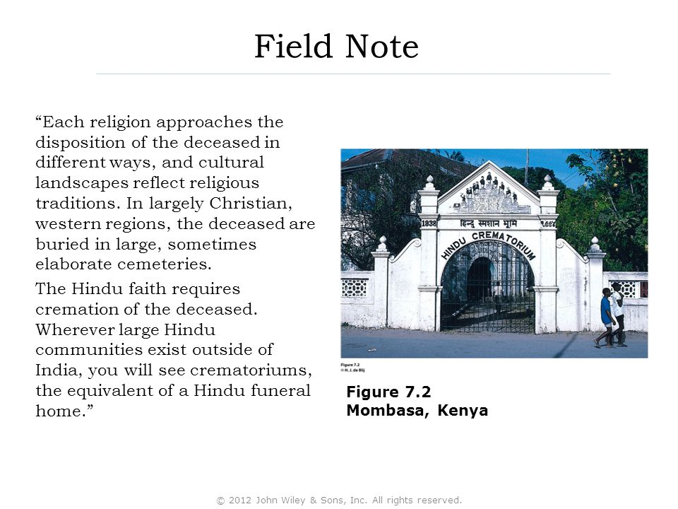 "Field Note ""Each religion approaches the disposition of the deceased in different ways, and cultural landscapes reflect religious traditions. In large"