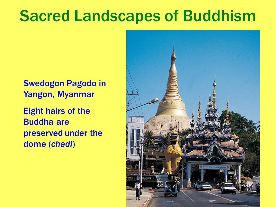 Sacred Landscapes of Buddhism Swedogon Pagodo in Yangon, Myanmar Eight hairs of the Buddha are preserved under the dome (chedi)