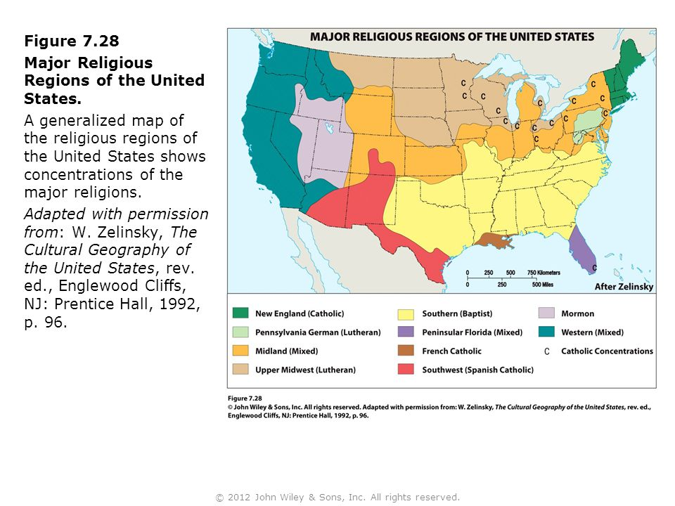 Figure 7.28 Major Religious Regions of the United States. A generalized map of the religious regions of the United States shows concentrations of the