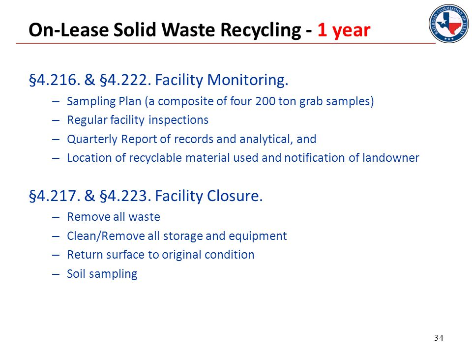 On-Lease Solid Waste Recycling - 1 year §4.216. & §4.222.