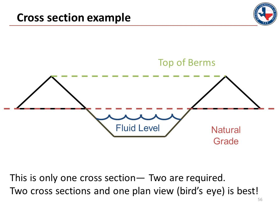 Cross section example 56 Natural Grade Top of Berms This is only one cross section— Two are required.