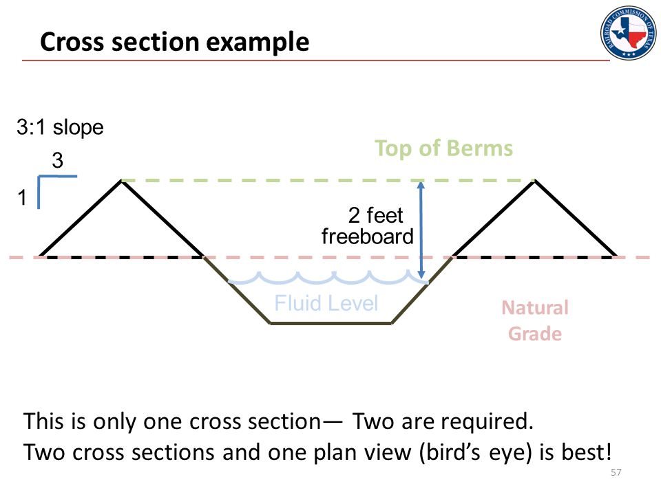 Cross section example 58 3 1 2 feet Natural Grade Top of Berms freeboard 3:1 slope This is only one cross section— Two are required.