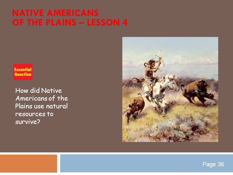 NATIVE AMERICANS OF THE PLAINS – LESSON 4 How did Native Americans of the Plains use natural resources to survive? Page 36