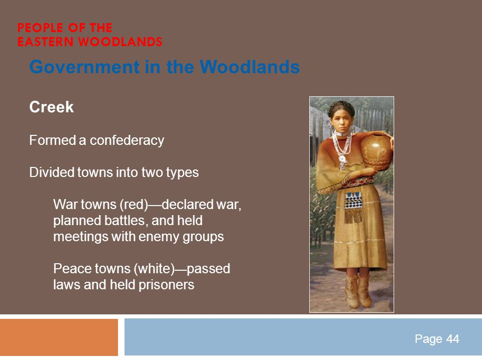 Government in the Woodlands PEOPLE OF THE EASTERN WOODLANDS Creek Formed a confederacy Divided towns into two types War towns (red)—declared war, plan