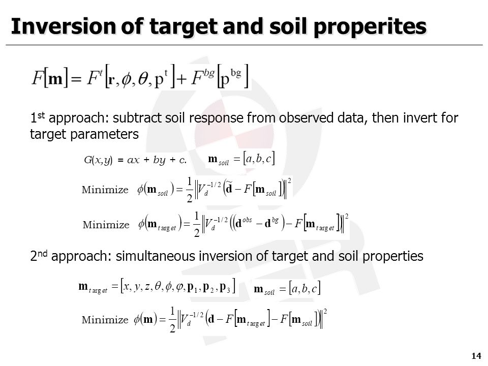 Inversion of target and soil properites 14 1 st approach: subtract soil response from observed data, then invert for target parameters 2 nd approach: simultaneous inversion of target and soil properties