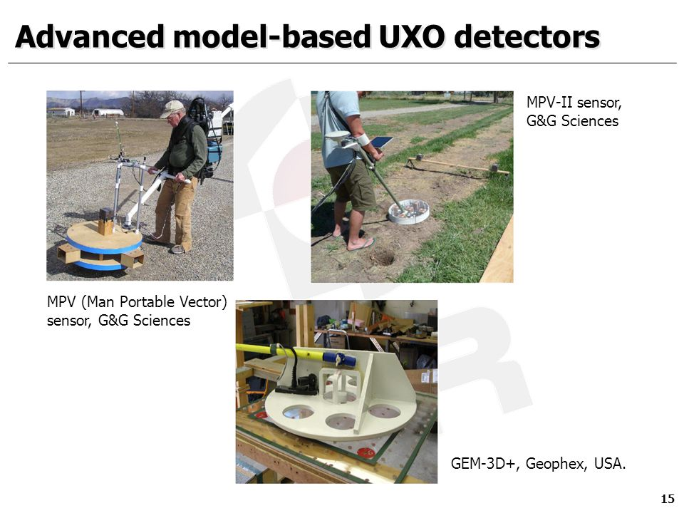 Advanced model-based UXO detectors 15 MPV (Man Portable Vector) sensor, G&G Sciences MPV-II sensor, G&G Sciences GEM-3D+, Geophex, USA.