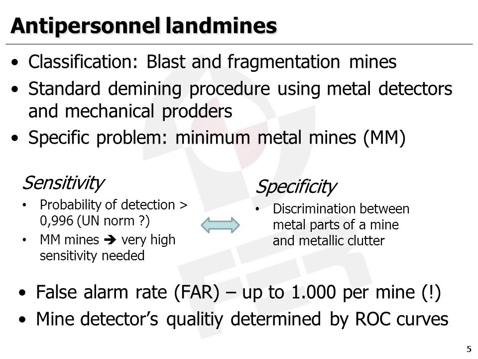 Antipersonnel landmines Classification: Blast and fragmentation mines Standard demining procedure using metal detectors and mechanical prodders Specif