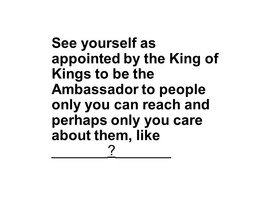 See yourself as appointed by the King of Kings to be the Ambassador to people only you can reach and perhaps only you care about them, like _______ _______