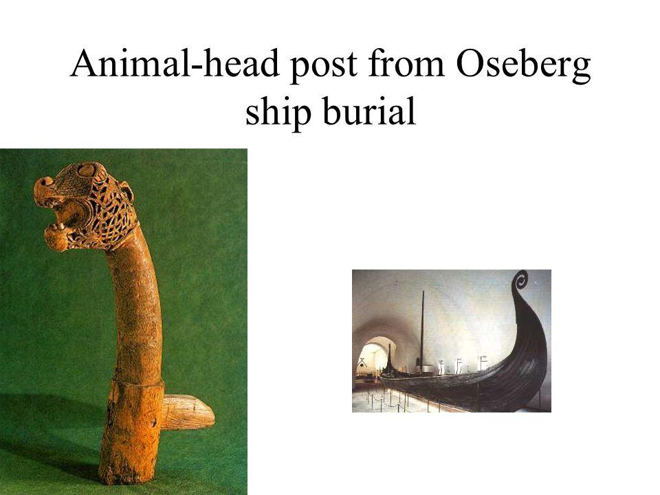 Animal-head post from Oseberg ship burial