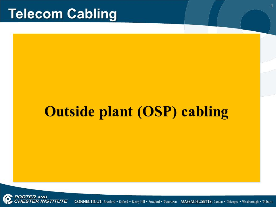 1 Telecom Cabling Outside plant (OSP) cabling