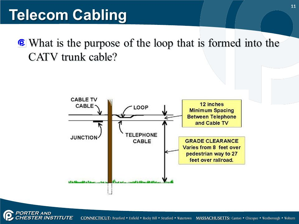 11 Telecom Cabling What is the purpose of the loop that is formed into the CATV trunk cable?