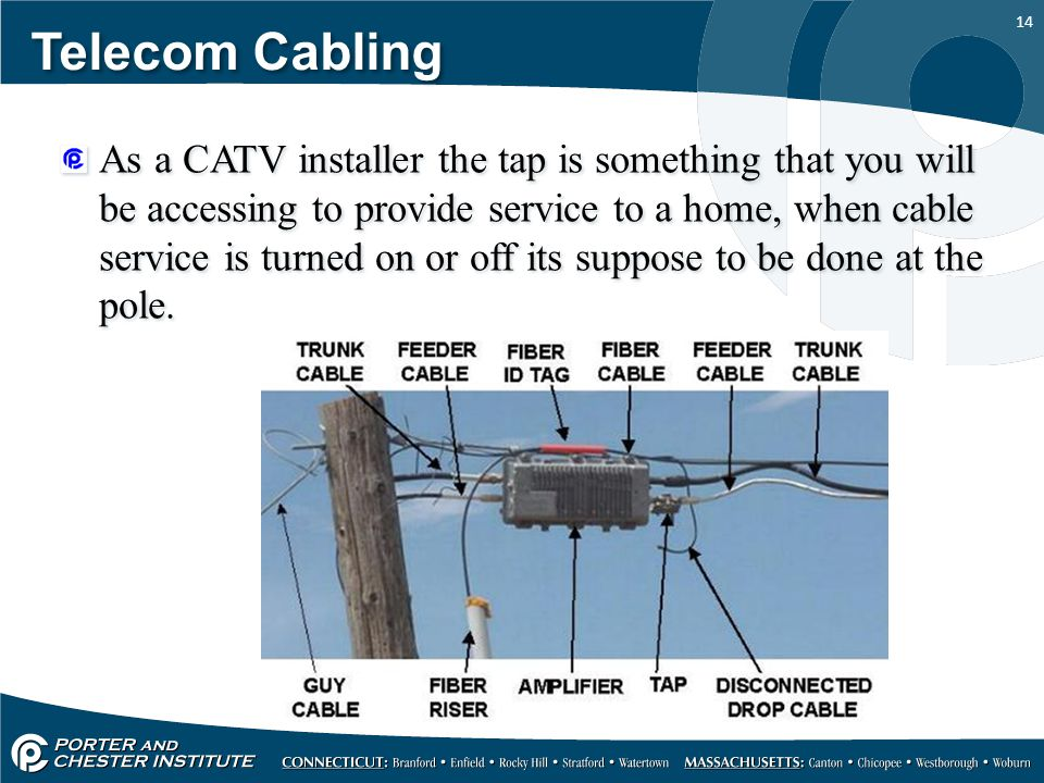 14 Telecom Cabling As a CATV installer the tap is something that you will be accessing to provide service to a home, when cable service is turned on o