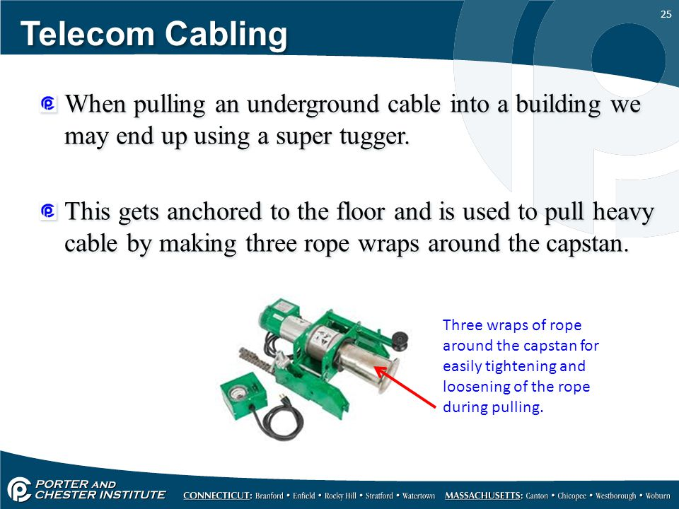 25 Telecom Cabling When pulling an underground cable into a building we may end up using a super tugger. This gets anchored to the floor and is used t