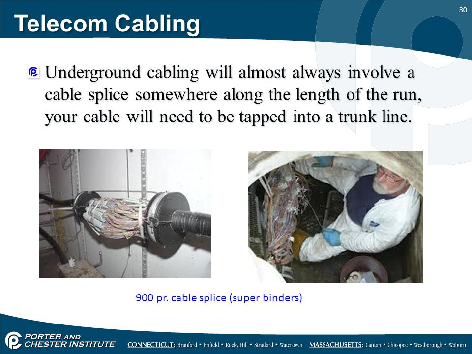 30 Telecom Cabling Underground cabling will almost always involve a cable splice somewhere along the length of the run, your cable will need to be tap