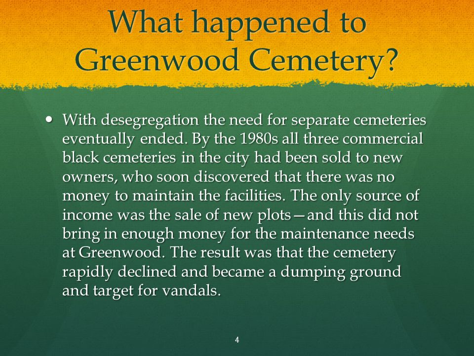 The cemetery has become overgrown and many of the historic tombstones have fallen into disrepair. 5