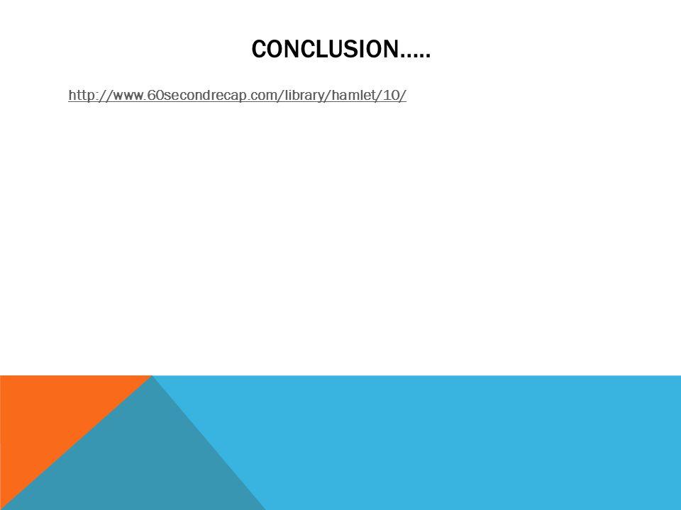 CONCLUSION….. http://www.60secondrecap.com/library/hamlet/10/
