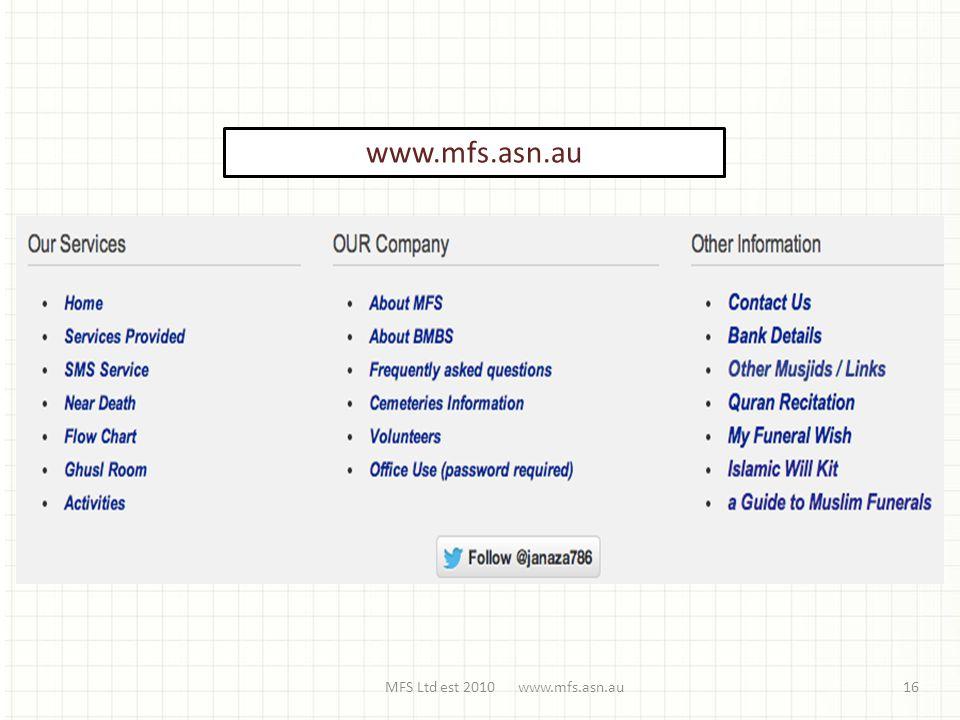 MFS Ltd est 2010 www.mfs.asn.au16 www.mfs.asn.au