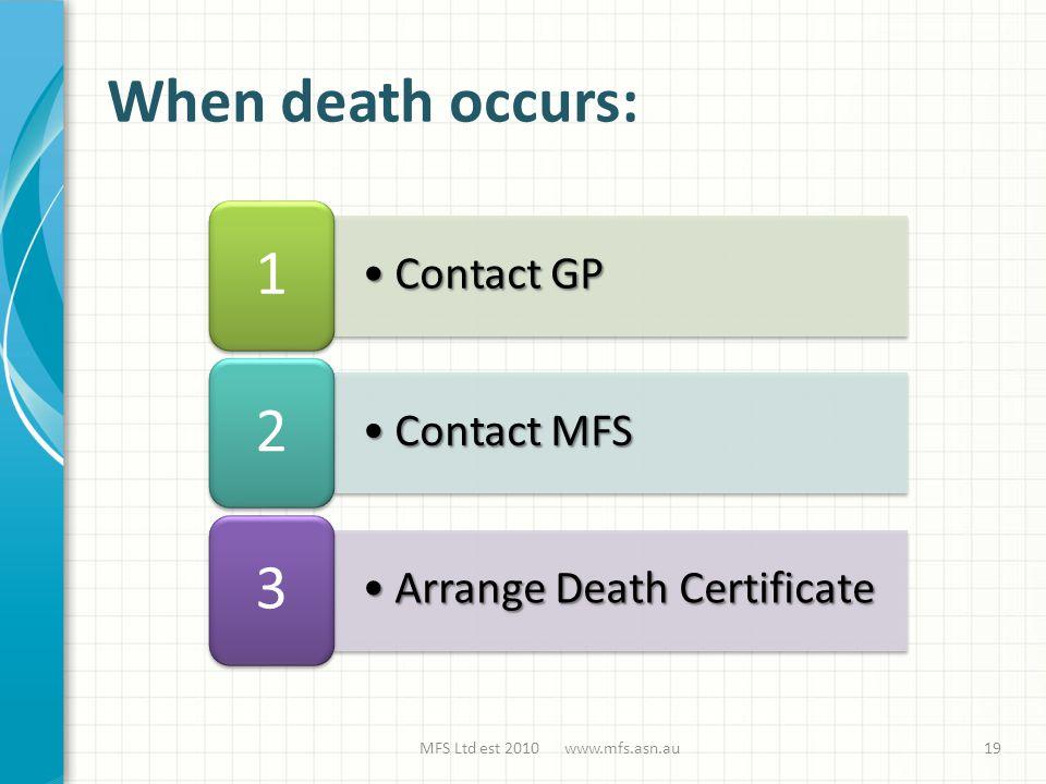 Contact GPContact GP 1 Contact MFSContact MFS 2 Arrange Death CertificateArrange Death Certificate 3 When death occurs: MFS Ltd est 2010 www.mfs.asn.au19