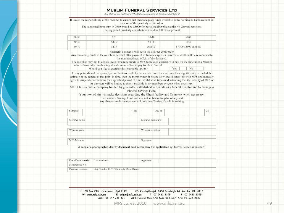 MFS Ltd est 2010 www.mfs.asn.au49