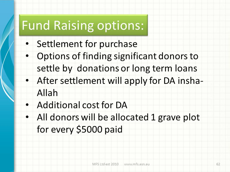 Fund Raising options: MFS Ltd est 2010 www.mfs.asn.au62 Settlement for purchase Options of finding significant donors to settle by donations or long term loans After settlement will apply for DA insha- Allah Additional cost for DA All donors will be allocated 1 grave plot for every $5000 paid