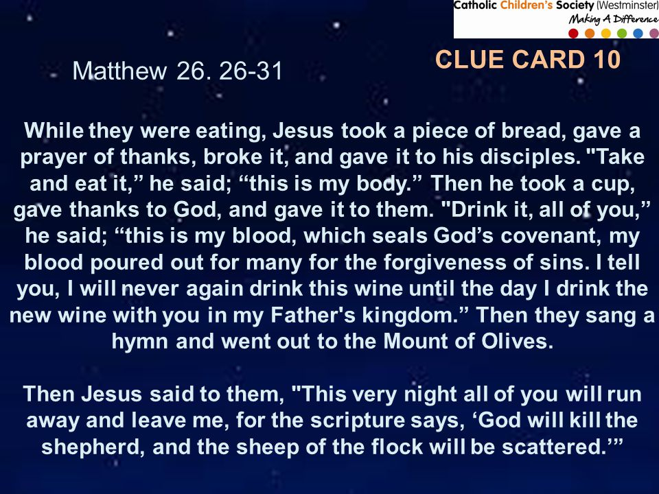 CLUE CARD 10 Matthew 26.