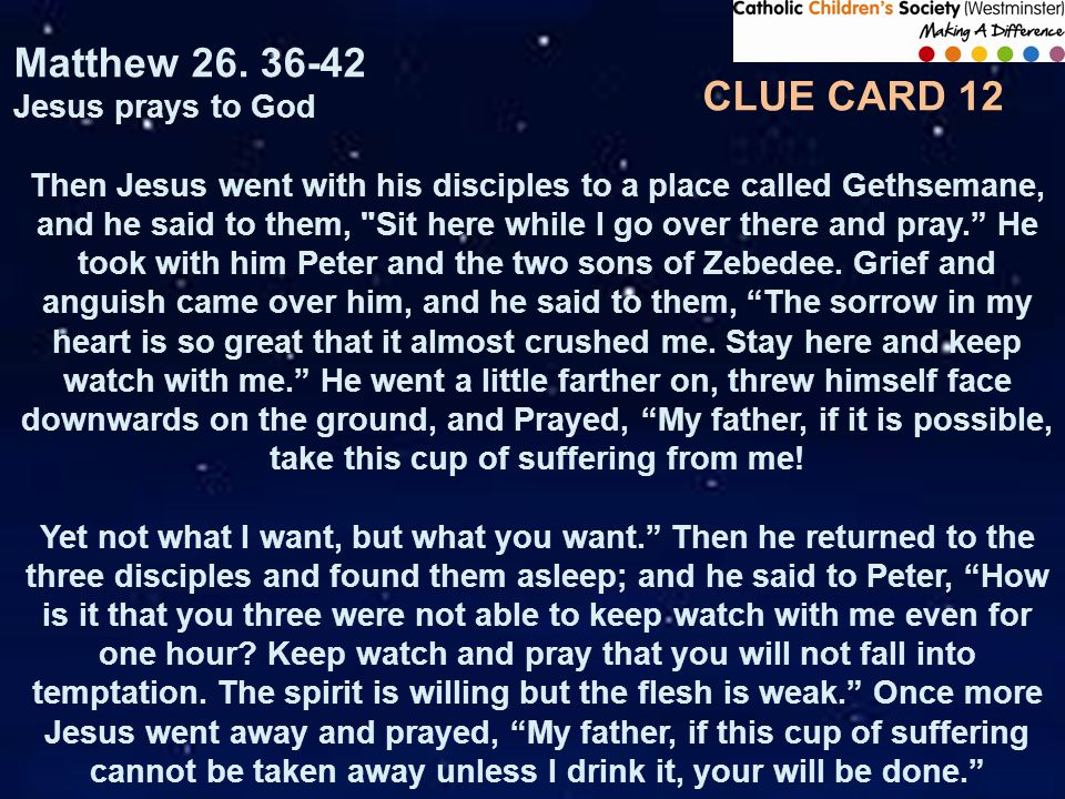 CLUE CARD 12 Matthew 26.