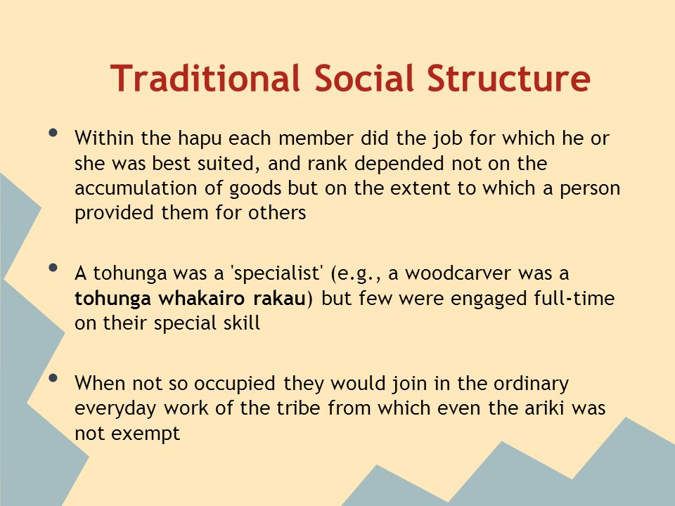 Traditional Social Structure Within the hapu each member did the job for which he or she was best suited, and rank depended not on the accumulation of goods but on the extent to which a person provided them for others A tohunga was a specialist (e.g., a woodcarver was a tohunga whakairo rakau) but few were engaged full-time on their special skill When not so occupied they would join in the ordinary everyday work of the tribe from which even the ariki was not exempt