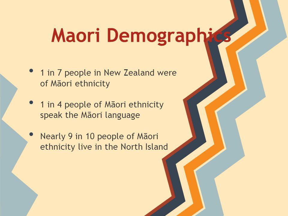 Maori Demographics 1 in 7 people in New Zealand were of Māori ethnicity 1 in 4 people of Māori ethnicity speak the Māori language Nearly 9 in 10 people of Māori ethnicity live in the North Island