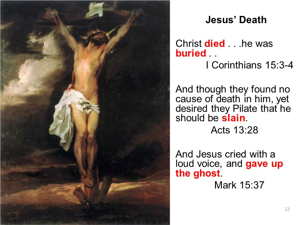 22 Jesus' Death Christ died...he was buried..