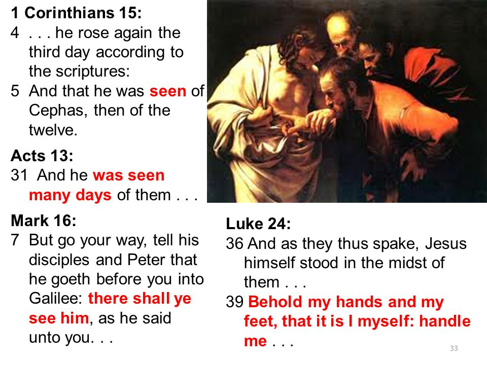 33 1 Corinthians 15: 4... he rose again the third day according to the scriptures: 5And that he was seen of Cephas, then of the twelve. Acts 13: 31 An