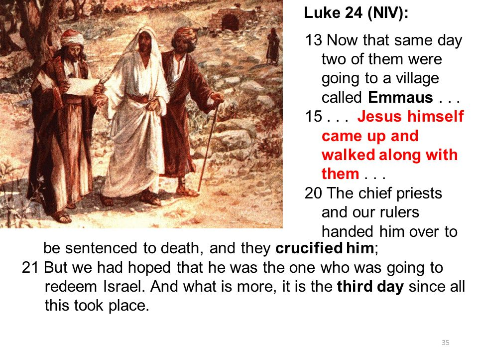 35 Luke 24 (NIV): 13 Now that same day two of them were going to a village called Emmaus...