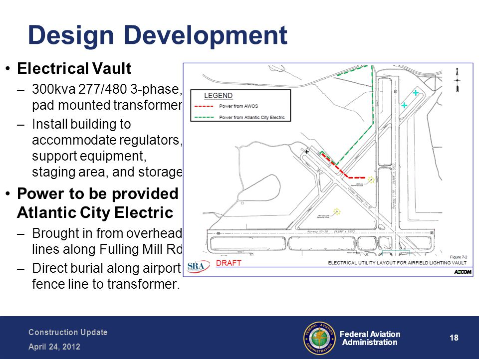 18 Federal Aviation Administration Construction Update April 24, 2012 Design Development Electrical Vault –300kva 277/480 3-phase, pad mounted transformer –Install building to accommodate regulators, support equipment, staging area, and storage.