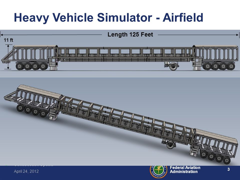 3 Federal Aviation Administration Construction Update April 24, 2012 Length 125 Feet 11 ft Heavy Vehicle Simulator - Airfield