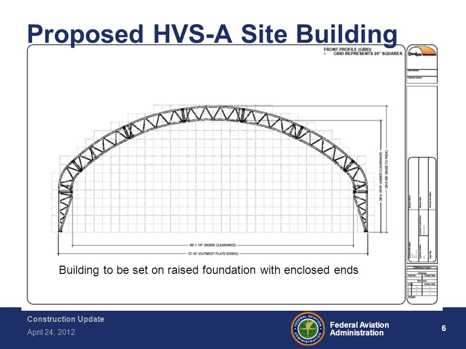 6 Federal Aviation Administration Construction Update April 24, 2012 Proposed HVS-A Site Building Building to be set on raised foundation with enclose