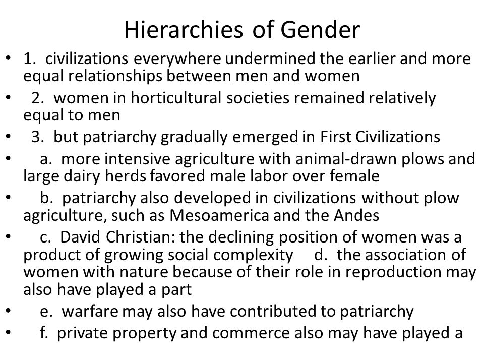 Hierarchies of Gender 1.