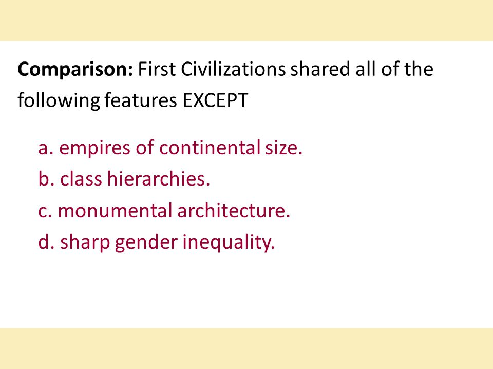 Comparison: First Civilizations shared all of the following features EXCEPT a.