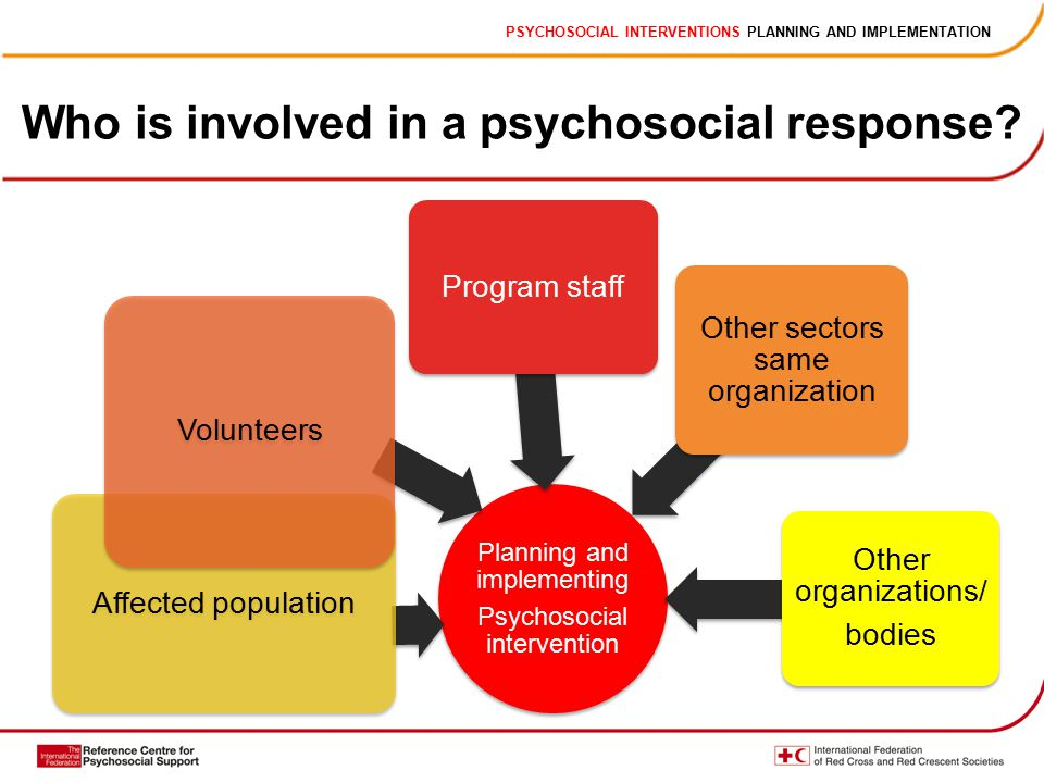 PSYCHOSOCIAL INTERVENTIONS PLANNING AND IMPLEMENTATION Who is involved in a psychosocial response.