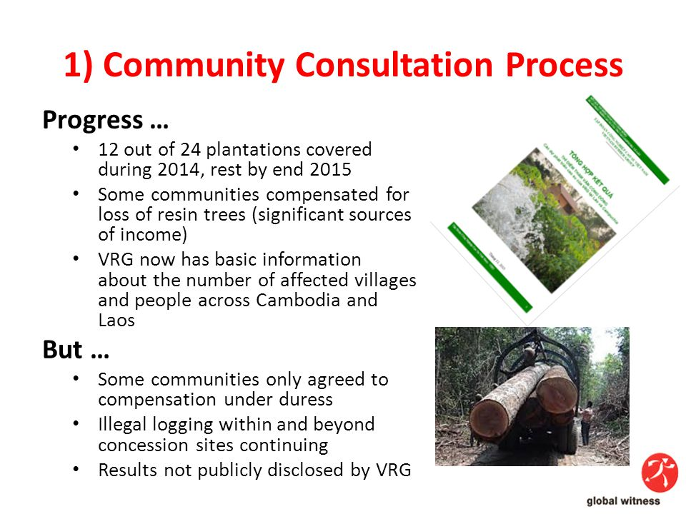 1) Community Consultation Process Progress … 12 out of 24 plantations covered during 2014, rest by end 2015 Some communities compensated for loss of resin trees (significant sources of income) VRG now has basic information about the number of affected villages and people across Cambodia and Laos But … Some communities only agreed to compensation under duress Illegal logging within and beyond concession sites continuing Results not publicly disclosed by VRG