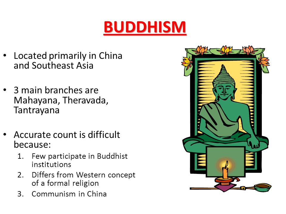 BUDDHISM Located primarily in China and Southeast Asia 3 main branches are Mahayana, Theravada, Tantrayana Accurate count is difficult because: 1.Few