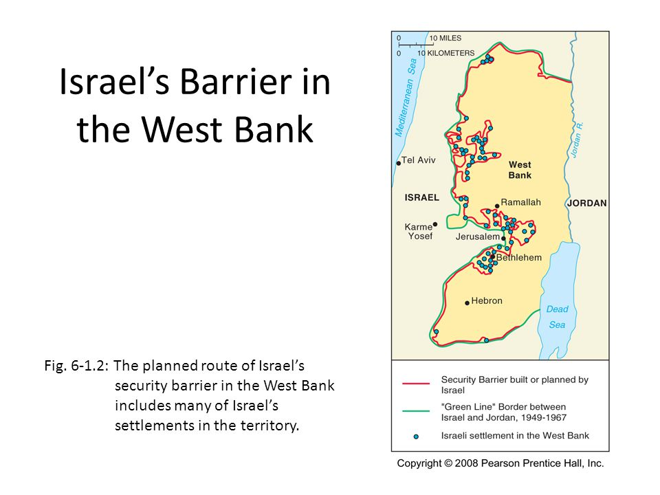 Israel's Barrier in the West Bank Fig. 6-1.2: The planned route of Israel's security barrier in the West Bank includes many of Israel's settlements in